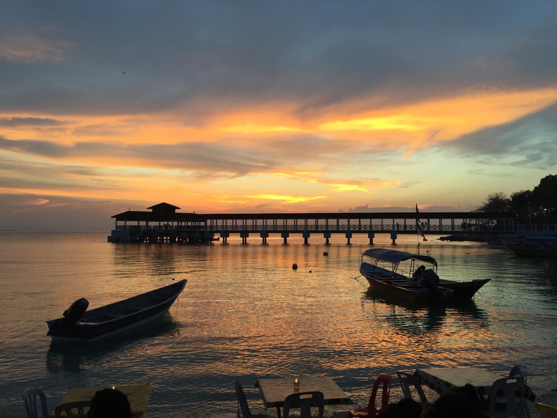 Notre premier coucher de soleil, Perhentian Island Kecil, Malaisie, Mars 2016